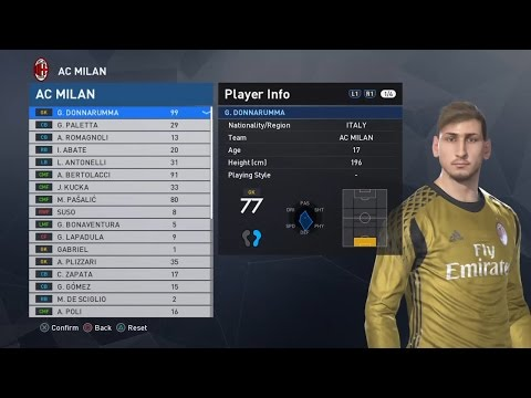 PES 2017 AC Milan Squad and Faces Donnarumma Bonaventura Zapata
