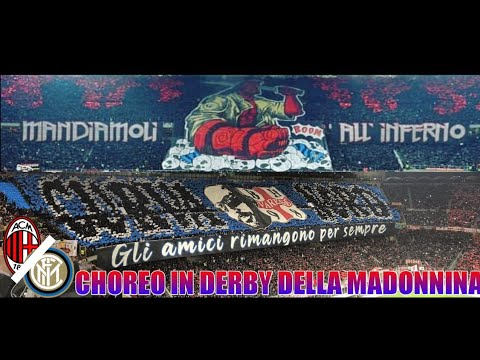 COREO CURVA SUD-NORD MILANO IN DERBY DELLA MADONNINA||AC MILAN VS INTER