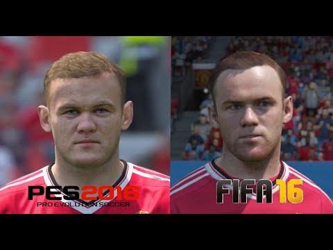 PES 2016 vs FIFA 16 Manchester United Player Faces Comparison
