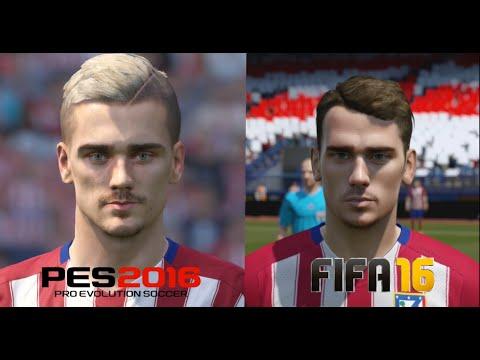 PES 2016 vs FIFA 16 Atletico de Madrid Player Faces Comparison