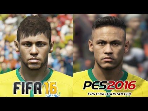FIFA 16 vs PES 2016 BRASIL (National Team) Face Comparison