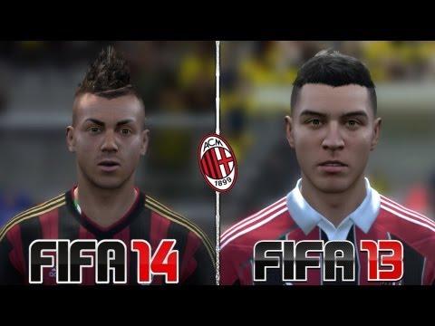FIFA 14 vs FIFA 13 – Head to Head Faces | AC Milan | Face Comparison | HD 1080p