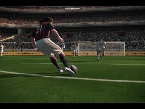 PES 2010 is AWESOME! Pirlo (AC Milan) Scores Against Real Madrid