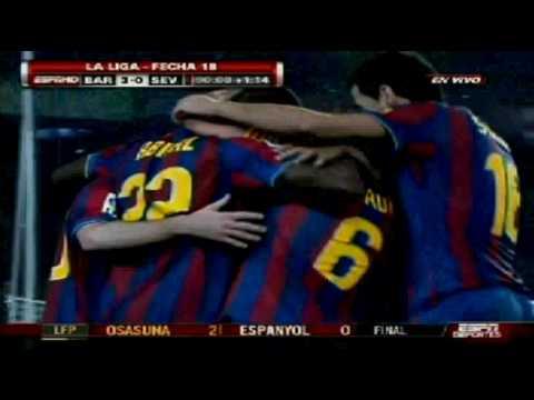 FC Barcelona vs Sevilla 4-0 [16/01/10] LA LIGA BBVA 2010 [HQ] EspnDeportes