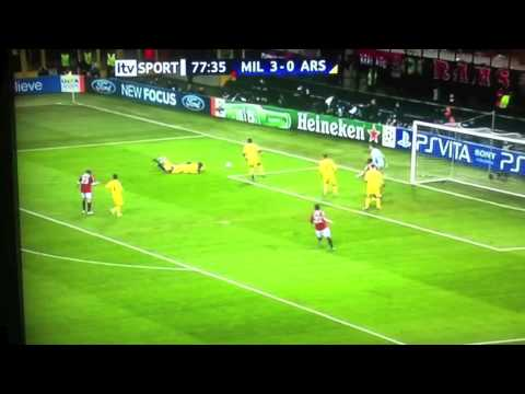 AC Milan vs Arsenal 4-0 | 15/02/2012 | Boateng Robinho Ibrahimovic Goals